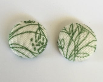 15mm Fabric Studs • Cream/Green Garden • Surgical Steel • fabric stud earrings • button studs • button earrings