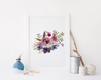floral wall art, printable art, floral print, flower print wall art, watercolor flower printable, shabby chic wall decor,boho wall decor