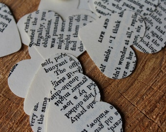 Vintage Book Page Heart Confetti