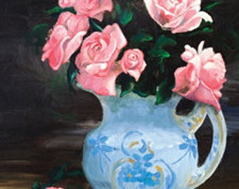 Roses in Blue Jug Oil Painting