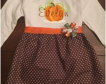 Personalized pumpkin Toddler and Girls Dress, Toddler and Girls Fall Thanksgiving Dress, Toddler and Girls Pumpkin Patch Dress