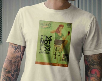 I'm not drunk I'm spirited w/ Pin-up Rockabilly Vintage Inspired Mens Tee Shirt S M L XL 2XL 3XL