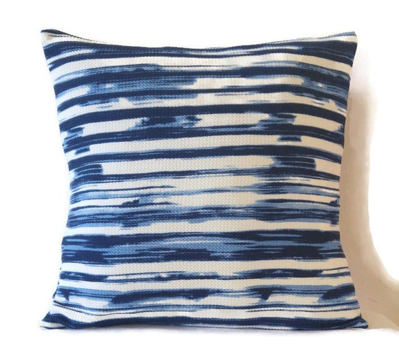 navy and white pillow cover striped blue and white by sofapop. Black Bedroom Furniture Sets. Home Design Ideas