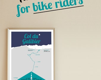 Tour de France print, Col du Galibier, A3 poster, birthday present