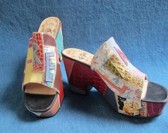 Vintage Freelance Patchwork Leather Wedge Open Toe Platform Shoe