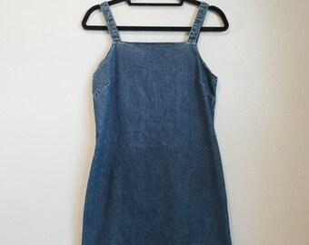 1990's vintage denim dress / old navy denim dress / mini dress
