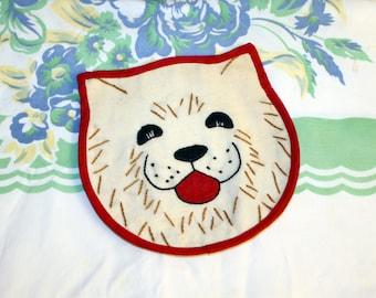 Embroidered Dog Pot Holder, 1940s/50s