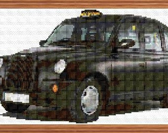 London Black Cab Colour Cross Stitch Chart