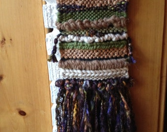 Hand woven, one of a kind, wall hanging - greens, Browns, purple, cream