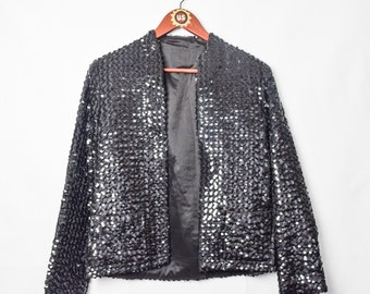 Vintage Disco Black Sequin Long Sleeve Blazer Jacket