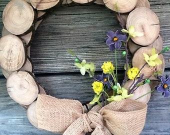 "12"" Hand Cut Wood Slice Wreath/ Rustic Home Decor (2 styles) Farmhouse Style"
