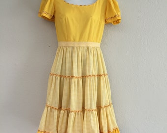 CLEARANCE: Sunshine yellow 70s vintage square dance gingham dress full skirt