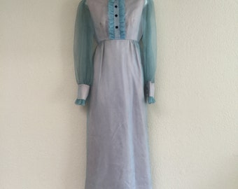 Clearance: 60s Powder blue chiffon victorian dream dress holiday party