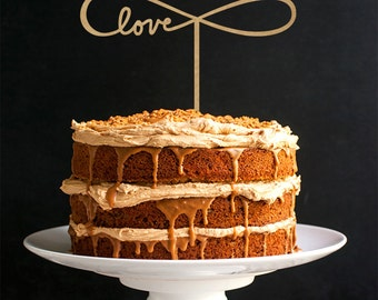 Love Cake Topper - Wedding Cake Topper - Rustic Cake Topper - Keepsake Cake Topper R040