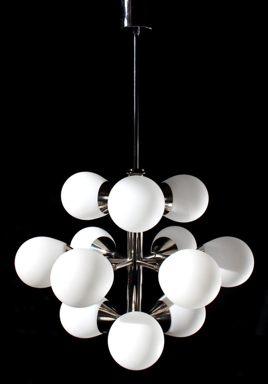 12 lights organic chandelier brass chromed opal by grafvonbrueck