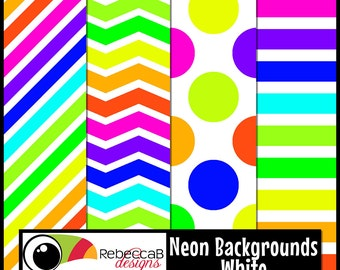 Neon Clip Art: Neon Papers with White, Neon Digital Paper 12x12