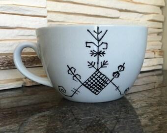 Latvian signs vintage handmade coffee mug