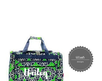 Preppy Navy and Green Geometric duffel bag- Monogrammed duffel bag-monogrammed luggage Bridal