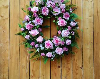 Pink Rose Oval Door Wreath, Floral Front Door Wreath, Oval Grapevine Front Door Wreath, Pink Door Wreath, Spring or Summer Wreath,  W174