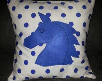 Blue polka dot horse cushion cover