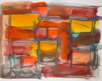 Original Watercolor Painting Modern Contemporary Abstract