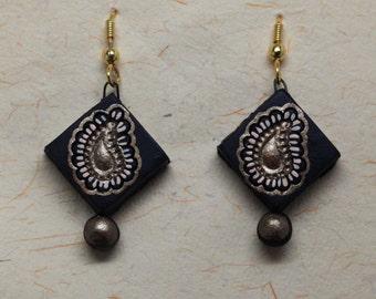 Indian Leaf Motif Terracotta Gold and Black Earrings
