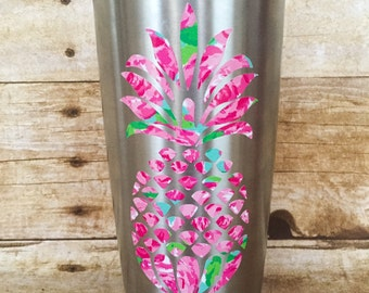 Pineapple Decal, Lilly Pulitzer Vinyl, Car Decal, Yeti Decal, Laptop Decal, Lilly Inspired, Summer Decal, Water Bottle Decal,