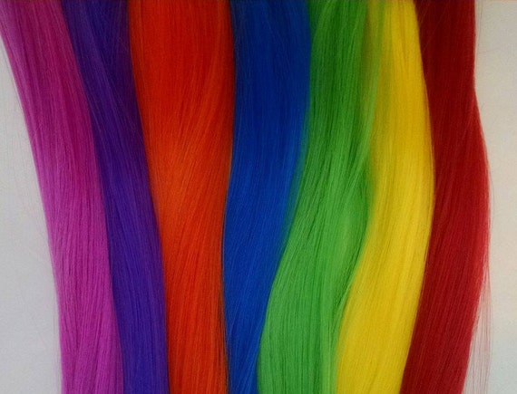 Rainbow Doll Hair Rerooting Kit 7 Hanks of Hair: Red, Orange, Yellow, Blue, Purple, Green & Fuchsia for OOAK Monster High Barbie Sindy MLP