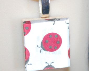 Scrabble Tile Fun Art Pendant Necklace - Ladybug Lady Bug
