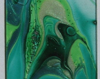 Wicked Witch - Water Marbled Microscope Slide