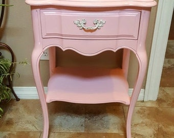 SOLD!  Vintage French Provincial Nightstand - Pink for Girl's Room