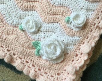 Crochet Baby Girl Blanket Chevron Floral