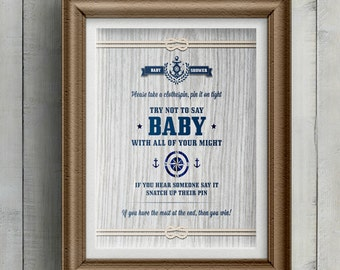 Printable Rustic Nautical Baby Shower Clothespin Game, Wood Grain, JPG Instant Download