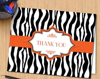 Printable Zebra Print Ribbon Thank You Greeting Card - Orange, Editable PDF, Instant Download