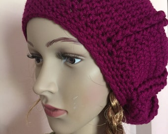 burgundy beret, beret hat, crochet beret