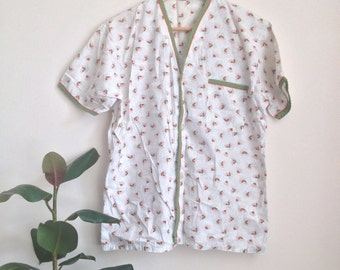 Classic Print Summer Pajama Set Sz Women's M-L Men's S