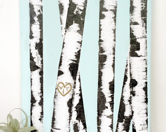 Personalized Birch Tree Canvas Art
