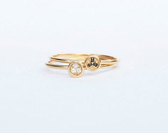 Tiny gold ring - black cz ring - white cz ring - thin ring - gold ring - boho ring - gemstone - zodiac - stacking ring - gold ring - C17321