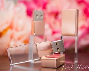 Single ROSE GOLD crystal 16gb flash drive