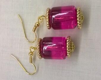 Handmade Magenta Bead Earrings with Gold Trim