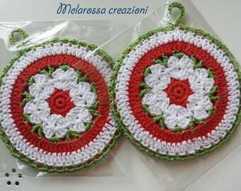 Circular kitchen pot holder with crochet cotton made flower Center. Accessory kitchen, decorating, gift idea.