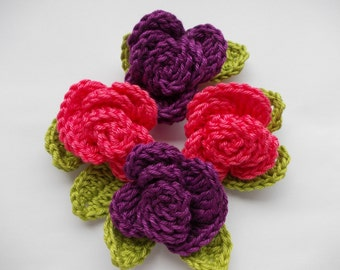 Crocheted Roses with leaves