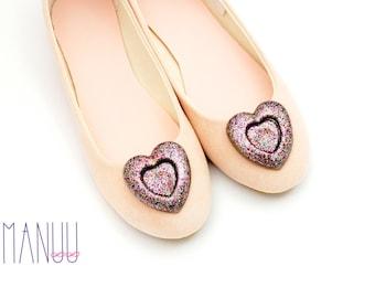 Multicolor glittery hearts - shoe clips Manuu, multicolor brocaded hearts