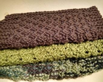 Knit Wash Cloth, Textured Dish Cloth, Camo decor, set of 3