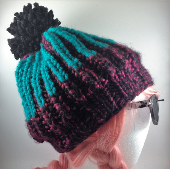 Knitting Brioche Stitch Hat : Turquoise // Burgundy Handmade Knit Hat // Brioche Stitch