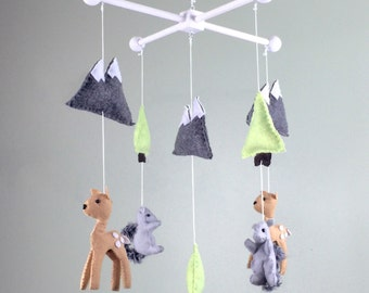 baby mobile, woodland baby mobile, deer baby mobile, mountain baby mobile, forest baby mobile, tree baby mobile , mountain baby mobile