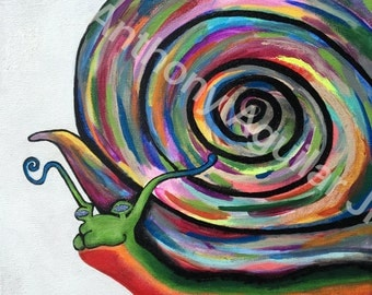 "Snail Painting on 12 x 16"" canvass"