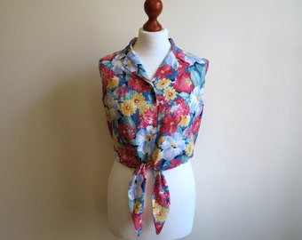 Multicolor Blouse Floral Print Blouse Womens Top Sleeveless Summer Shirt Tied Blouse Cropped Top Size M