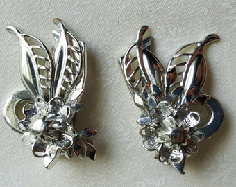 Vintage Sterling Silver Flower and Leafs Clip-On Earrings