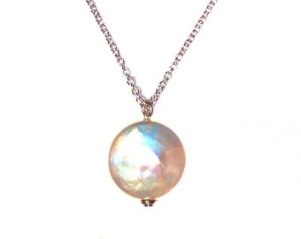 Coin Pearl Argentium Silver Necklace